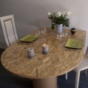 Table demi-lune 1 pied finition Brillant