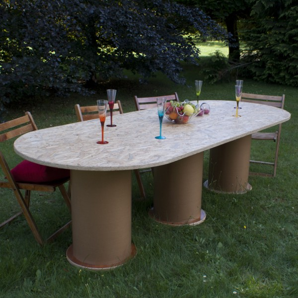 Table 3 pieds design contemporain finition osb mat for Table 3 pieds